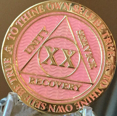 20 Year AA Medallion Pink Gold Plated Alcoholics Anonymous Sobriety Chip Coin