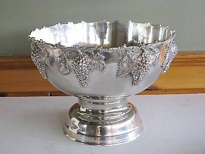 Huge Silverplate Punch Bowl With Grapes