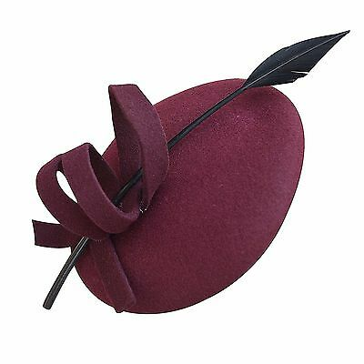 Wine Womens Curly Feather Felt Wool Fascinator Pillbox Cocktail Formal Hat A145