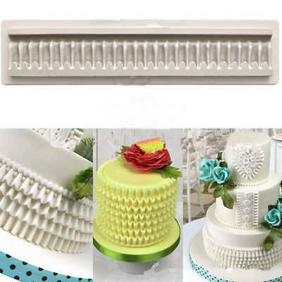 DIY Ruffle Border Swag Silicone Fondant Mould Cake Decor  Sugarcraft Icing Mold