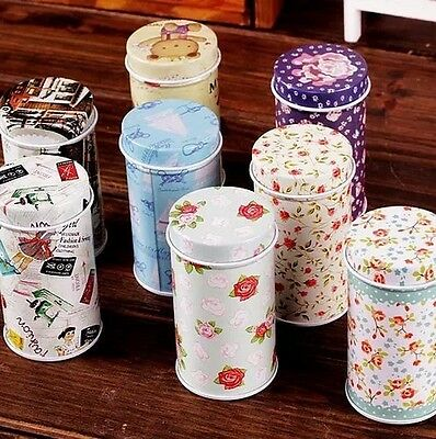 Retro Style Flower Bear Sewing Girl Metal Toothpick Holder Container Jar Tin Box