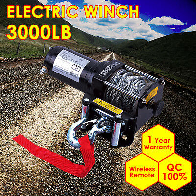 3000lbs Electric Winch Heavy Duty Recovery Pulling 4WD ATV Truck Car Boat 4x4 UK