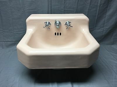 Vtg Mid Century Cast Iron Pink Porcelain Shelf Top Bath Sink Standard 226-17E