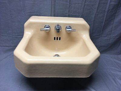 Vtg Mid Century Cast Iron Sun Tan Porcelain Shelf Top Sink Old Standard 227-17E