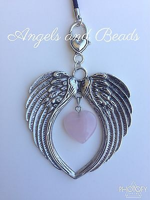 Key Chain.  Angel wings with Rose Quartz heart. Perfect Gift.  Heart Clasp.