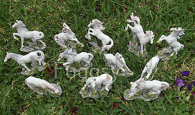 Set of 12 Unicorn Figurine 5-9 cm Mystical Fairy Garden Ornaments Pink Purple