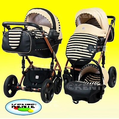 Pram Pushchair Car seat Buggy Alu chassis travel system 3in1 eco-leather
