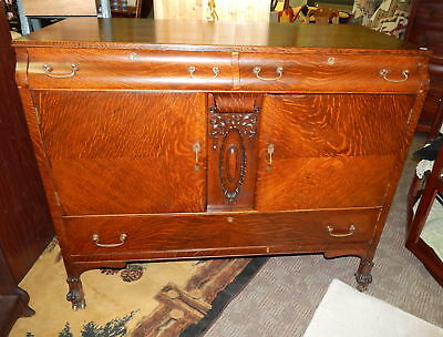 Antique Carved Tiger Oak Claw Foot Cabinet Server Cart Bar Credenza Buffet