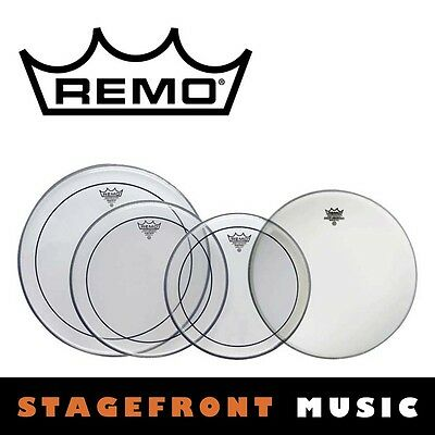 "Remo Pinstripe Clear Drum Head Pack Pro Rock Skins 12"", 13"", 16"", 14"" Pp-0320-Ps"