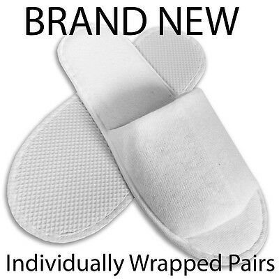 99p SPA HOTEL GUEST SLIPPERS OPEN TOE TOWELLING DISPOSABLE TERRY STYLE NEW UK