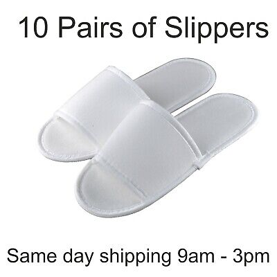 10 pairs SPA HOTEL GUEST SLIPPERS OPEN TOE TOWELLING DISPOSABLE TERRY STYLE NEW