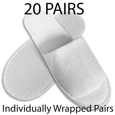 20 pairs SPA HOTEL GUEST SLIPPERS OPEN TOE TOWELLING DISPOSABLE TERRY STYLE NEW