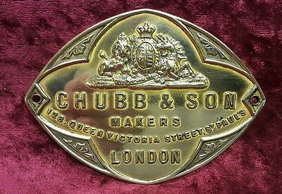 Antique Brass Chubb and Sons Safe Plaque. Architectural Salvage