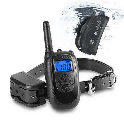 300 Yard Dog Training Collar Waterproof Rechargeable Electric LCD 100LV Shock