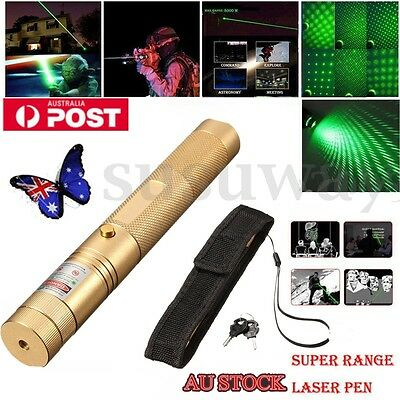 Super Green Laser Pointer Pen Clip Visible Beam Mark Direct 5 Mile power 1mw AU