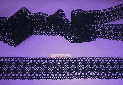 2 metres  of  Black  100% Pure  Cotton  Cluny  Lace  60 mm Wide