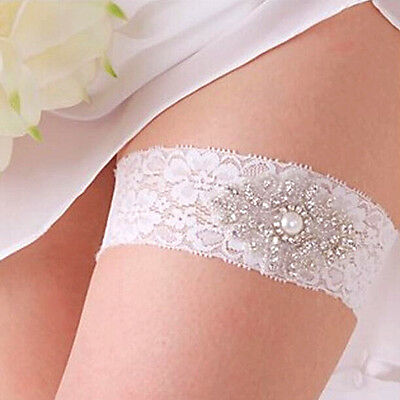Vintage Bridal Crystal Pearl Wedding Garter White Lace Bride Prom Hen Party