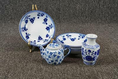 Blue Porcelain Teapot, Bud Vase, And Cereal Bowls White With Navy Blue Flowers