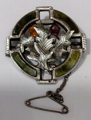ANTIQUE SOLID SILVER & AGATE SCOTTISH THISTLE  BROOCH ADIE & LOVEKIN EARLY1900s