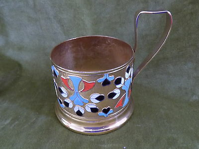 Vintage Enamel/gold colour metal Russian Tea Glass Holder approx 6cm height