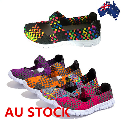 Women Breathable Sandals flats Shoes Light Flat Loafers Walking Weave Shoes