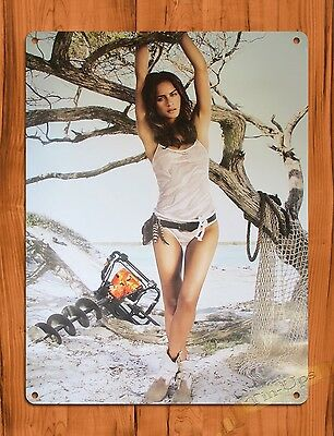 "TIN SIGN ""Stihl Calendar Girl Beach"" Vintage Pin Up Rustic Wall Decor"