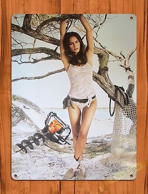"TIN-UPS TIN SIGN ""Stihl Calender Girl Beach"" Vintage Pin Up Rustic Wall Decor"