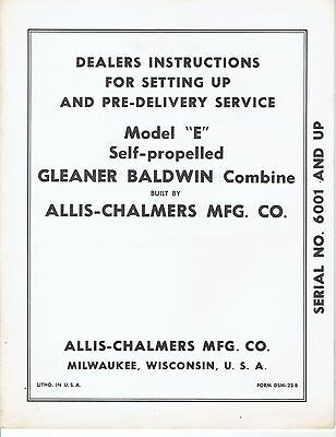 Allis Chalmers Operating Manual Model E Gleaner Baldwin Combine