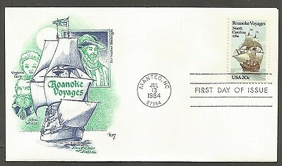 Us Fdc 1984 Roanoke Voyages 20C Marg Cachet First Day Of Issue Cover