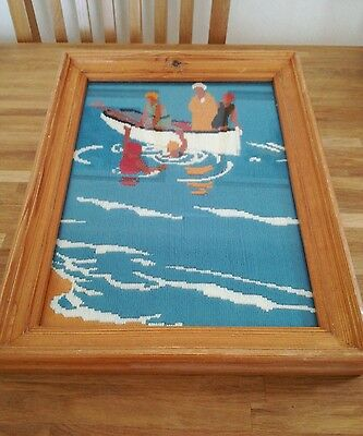 Framed needlepoint early 20th Century bathers