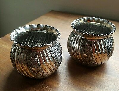 Pretty Pair of Antique Silver Plated Repoussé Rose Bowls By Atkin Brothers