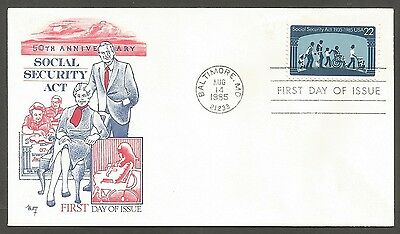 Us Fdc 1985 Social Security Act 22C Marg Cachet First Day Of Issue Cover