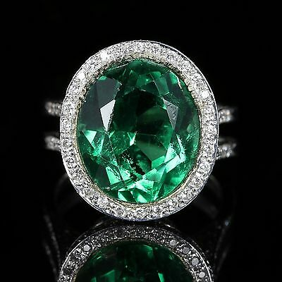 Antique Green Spinel And Diamond Ring 18Ct White Gold Circa 1940