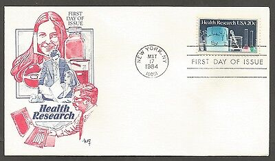 Us Fdc 1984 Health Research 20C Stamp Marg Cachet First Day Of Issue Cover