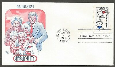 Us Fdc 1984 Family Unity 20C Stamp Marg Cachet First Day Of Issue Cover