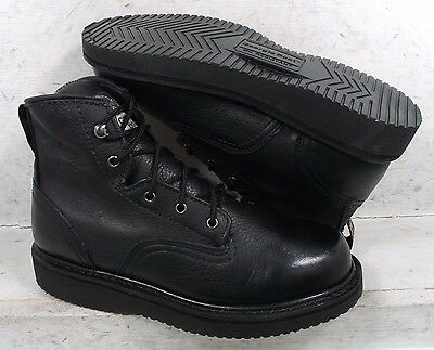 6b41582f4bb GEORGIA BOOT MENS Wedge Black Leather GBOT010 Lace Up Work Boots Shoes size  9 M
