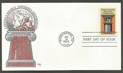 Us Fdc 1984 Federal Deposit Ins Corp 20C Marg Cachet First Day Of Issue Cover