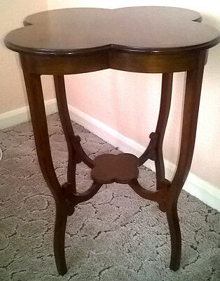 Antique Art & Crafts Fruitwood Four Leaf Clover, Occasional Table, Boxwood Inlay