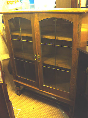 Vintage Solid Oak Bookcase with Leaded Glass