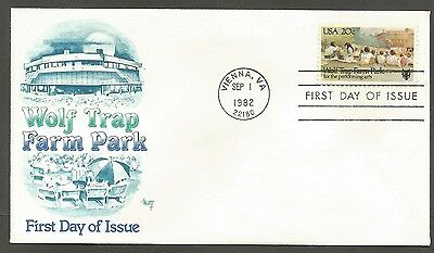 Us Fdc 1982 Wolf Trap Farm Park 20C Stamp Marg Cachet First Day Of Issue Cover