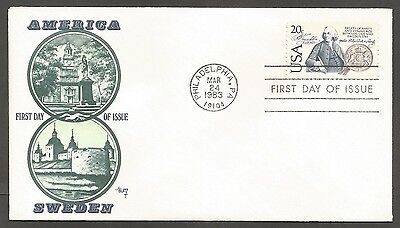 Us Fdc 1983 America / Sweden Treaty 20C Marg Cachet First Day Of Issue Cover