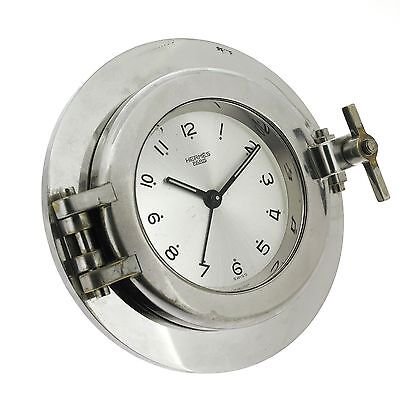 Vintage Swiss HERMES Paris Hublot Mechanical Alarm Table Desk Clock, Porthole