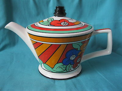 Sadler Art Deco style teapot, 21x13cm, inspired by Bizarre Ware, Clarice Cliff