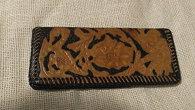 Hand Tooled Leather Checkbook Cover