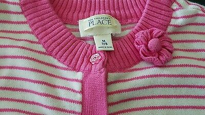 CHILDREN'S PLACE Girls Size 7/8 Cardigan sweater flower buttons pink white GUC