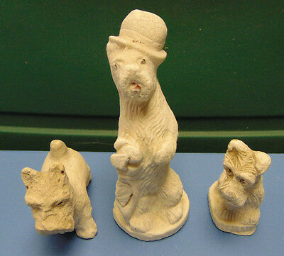 Chalkware Scotty Terrier Dogs Mini Figurines Lot of 3