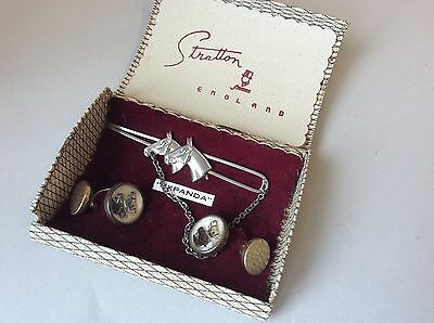 Vintage 1930's Art Deco cufflinks and horse tie pin, in original Stratton box
