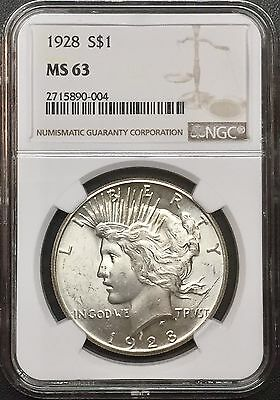 1928 P Peace Silver Dollar Ngc Ms 63 Key Date Beautiful White Coin Nice Luster