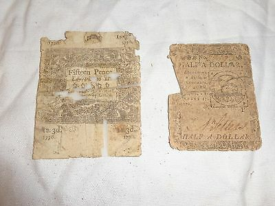 1775 & 1776 ( 2 ) Continental Currency Notes 15 pence and half Dollar