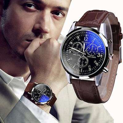 Luxury Mens Watch Faux Leather Blue Ray Glass Quartz Analog Wristwatches Gifts